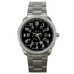 Astrology Chart With Signs And Symbols From The Zodiac Gold Colors Sport Metal Watch