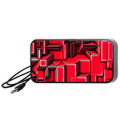 Background With Red Texture Blocks Portable Speaker (black)