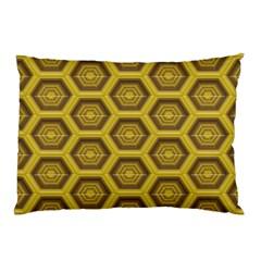 Golden 3d Hexagon Background Pillow Case (two Sides)