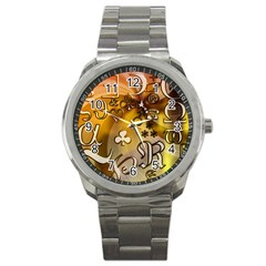 Symbols On Gradient Background Embossed Sport Metal Watch