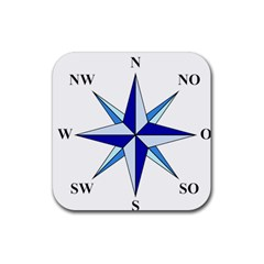 Compass Blue Star Rubber Square Coaster (4 Pack)  by Alisyart