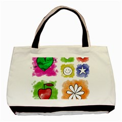 A Set Of Watercolour Icons Basic Tote Bag by Amaryn4rt