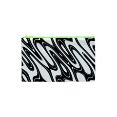Black And White Wave Abstract Cosmetic Bag (xs) by Amaryn4rt