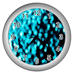 Bokeh Background In Blue Color Wall Clocks (silver)  by Amaryn4rt