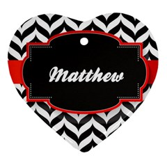 Pattern Black 1 Ornament (heart) by makeunique