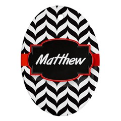 Pattern Black 1 Oval Ornament (two Sides) by makeunique