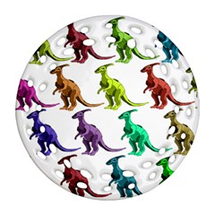 Multicolor Dinosaur Background Round Filigree Ornament (two Sides) by Amaryn4rt