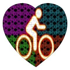 Bike Neon Colors Graphic Bright Bicycle Light Purple Orange Gold Green Blue Jigsaw Puzzle (heart) by Alisyart