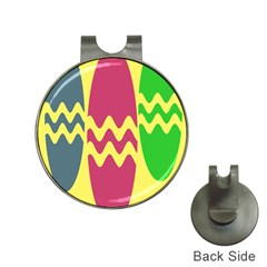 Easter Egg Shapes Large Wave Green Pink Blue Yellow Hat Clips With Golf Markers by Alisyart