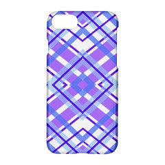 Geometric Plaid Pale Purple Blue Apple Iphone 7 Hardshell Case by Amaryn4rt