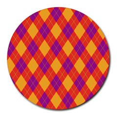 Plaid Pattern Round Mousepads by Valentinaart