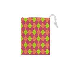 Plaid pattern Drawstring Pouches (XS)  by Valentinaart