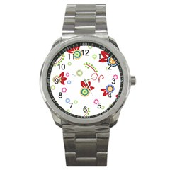 Colorful Floral Wallpaper Background Pattern Sport Metal Watch