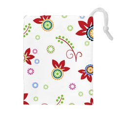 Colorful Floral Wallpaper Background Pattern Drawstring Pouches (extra Large) by Amaryn4rt