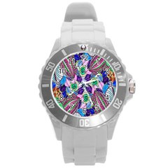 Wallpaper Created From Coloring Book Round Plastic Sport Watch (l)