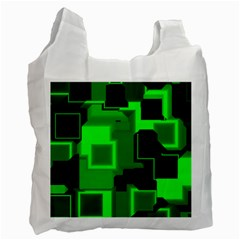 Green Cyber Glow Pattern Recycle Bag (two Side)  by Simbadda