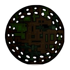 Circuit Board A Completely Seamless Background Design Ornament (round Filigree) by Simbadda