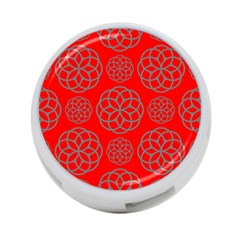 Geometric Circles Seamless Pattern On Red Background 4-Port USB Hub (One Side) by Simbadda