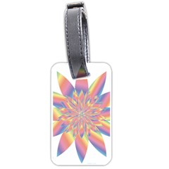 Chromatic Flower Gold Rainbow Star Luggage Tags (two Sides) by Alisyart