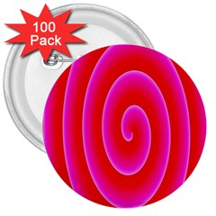 Pink Hypnotic Background 3  Buttons (100 pack)  by Simbadda