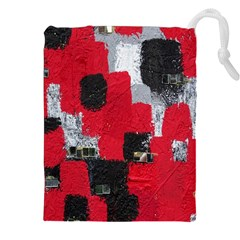 Red Black Gray Background Drawstring Pouches (XXL) by Simbadda