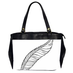 Feather Line Art Office Handbags (2 Sides)  by Simbadda