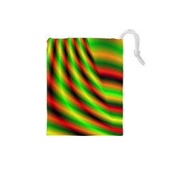 Neon Color Fractal Lines Drawstring Pouches (small)  by Simbadda