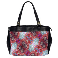 Floral Flower Wallpaper Created From Coloring Book Colorful Background Office Handbags (2 Sides)  by Simbadda