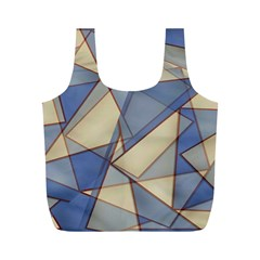 Blue And Tan Triangles Intertwine Together To Create An Abstract Background Full Print Recycle Bags (m)  by Simbadda