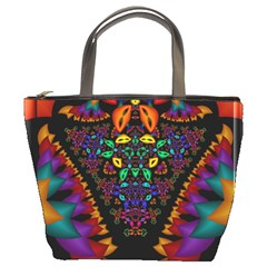 Symmetric Fractal Image In 3d Glass Frame Bucket Bags by Simbadda