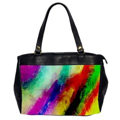 Colorful Abstract Paint Splats Background Office Handbags (2 Sides)  by Simbadda