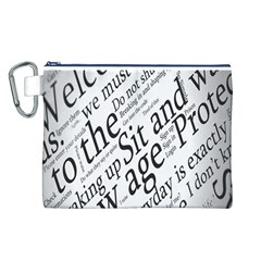 Abstract Minimalistic Text Typography Grayscale Focused Into Newspaper Canvas Cosmetic Bag (l) by Simbadda