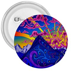 Psychedelic Colorful Lines Nature Mountain Trees Snowy Peak Moon Sun Rays Hill Road Artwork Stars 3  Buttons by Simbadda