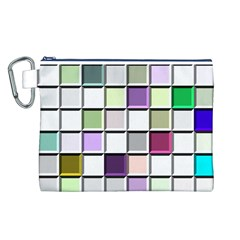 Color Tiles Abstract Mosaic Background Canvas Cosmetic Bag (l) by Simbadda
