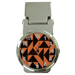 Brown Triangles Background Money Clip Watches