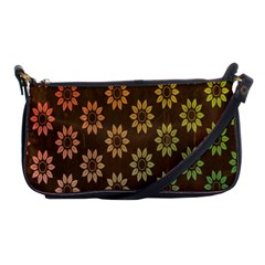 Grunge Brown Flower Background Pattern Shoulder Clutch Bags by Simbadda