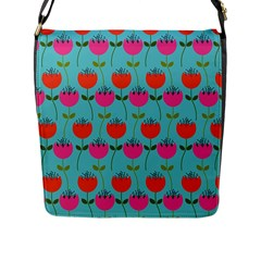 Tulips Floral Background Pattern Flap Messenger Bag (l)  by Simbadda