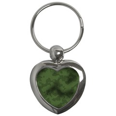 Vintage Camouflage Military Swatch Old Army Background Key Chains (heart)  by Simbadda
