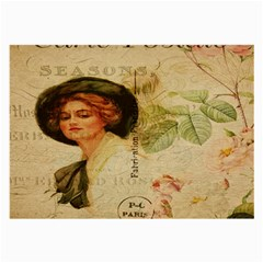 Lady On Vintage Postcard Vintage Floral French Postcard With Face Of Glamorous Woman Illustration Large Glasses Cloth by Simbadda