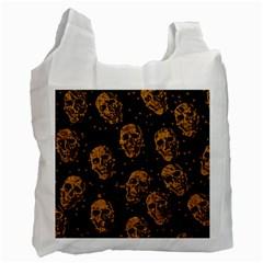 Sparkling Glitter Skulls Golden Recycle Bag (Two Side)