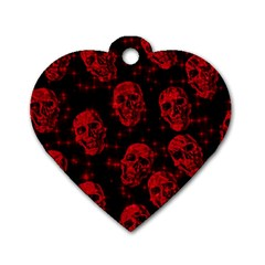 Sparkling Glitter Skulls Red Dog Tag Heart (Two Sides)