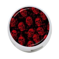 Sparkling Glitter Skulls Red 4-Port USB Hub (Two Sides)