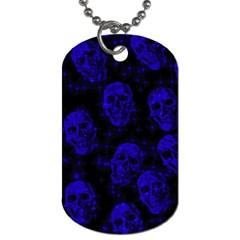 Sparkling Glitter Skulls Blue Dog Tag (Two Sides)