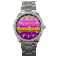Stripes Colorful Background Colorful Pink Red Purple Green Yellow Striped Wallpaper Sport Metal Watch