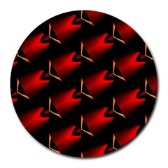 Fractal Background Red And Black Round Mousepads by Simbadda