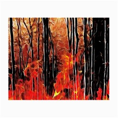 Forest Fire Fractal Background Small Glasses Cloth by Simbadda