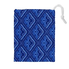 Blue Fractal Background Drawstring Pouches (extra Large) by Simbadda