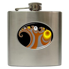 Classic Mandelbrot Dimpled Spheroids Hip Flask (6 Oz) by Simbadda