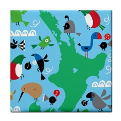 New Zealand Birds Detail Animals Fly Tile Coasters