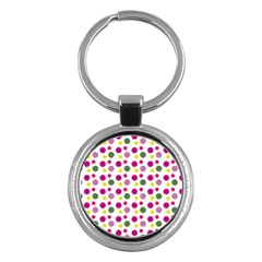 Polka Dot Purple Green Yellow Key Chains (round)  by Mariart